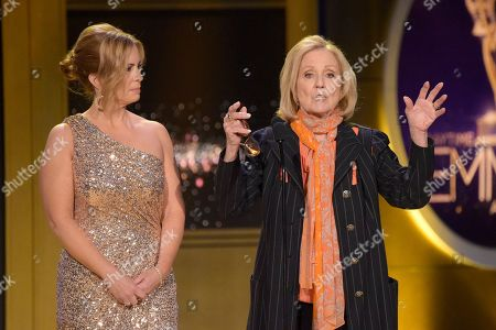 Stock Photo of Martha Byrne, Elizabeth Hubbard. Martha Byrne, left, and Elizabeth Hubbard present the award for outstanding lead actress in a drama series at the 45th annual Daytime Emmy Awards at the Pasadena Civic Center, in Pasadena, Calif