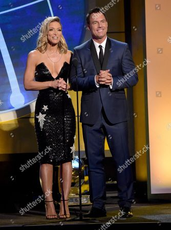 Stock Picture of Debbie Matenopoulos, Mark Steines. Debbie Matenopoulos, left, and Mark Steines present the award for outstanding younger actress in a drama series at the 45th annual Daytime Emmy Awards at the Pasadena Civic Center, in Pasadena, Calif