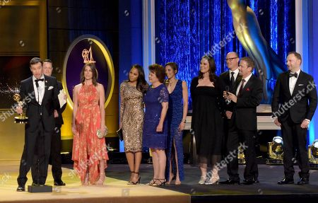 """Stock Picture of Mike Richards, left, and crew accept the award for outstanding game show for """"The Price is Right"""" at the 45th annual Daytime Emmy Awards at the Pasadena Civic Center, in Pasadena, Calif"""