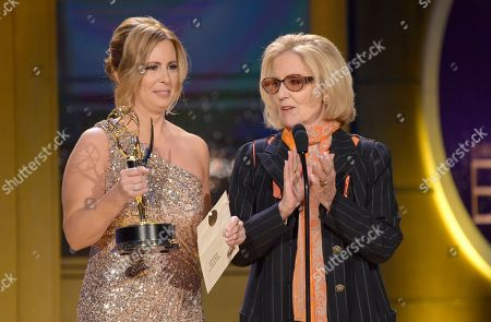 Stock Picture of Martha Byrne, Elizabeth Hubbard. Martha Byrne, left, and Elizabeth Hubbard present the award for outstanding lead actress in a drama series at the 45th annual Daytime Emmy Awards at the Pasadena Civic Center, in Pasadena, Calif