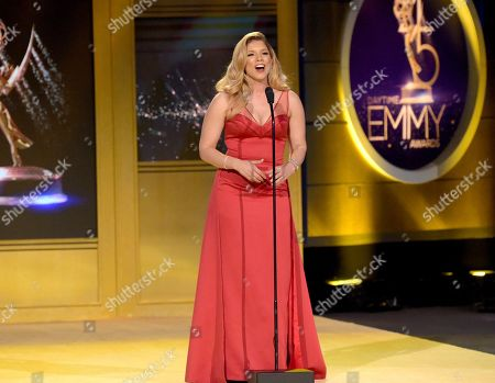 "Stock Photo of Gaby Natale presents a tribute to ""Wheel of Fortune"" at the 45th annual Daytime Emmy Awards at the Pasadena Civic Center, in Pasadena, Calif"
