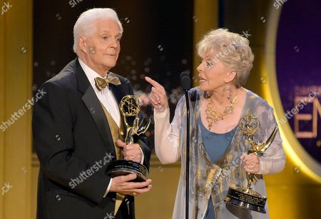 Stock Photo of Bill Hayes, Susan Seaforth Hayes. Bill Hayes, left, and Susan Seaforth Hayes accept the lifetime achievement award at the 45th annual Daytime Emmy Awards at the Pasadena Civic Center, in Pasadena, Calif