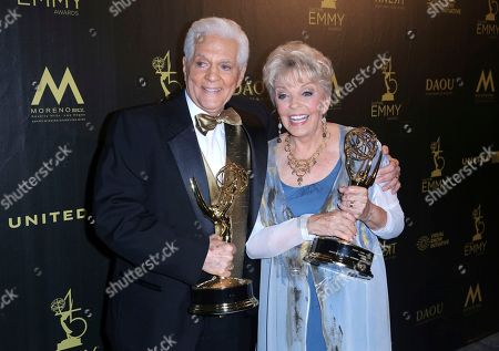 Stock Photo of Bill Hayes, Susan Seaforth Hayes. Bill Hayes, left, and Susan Seaforth Hayes pose in the press room with the lifetime achievement award