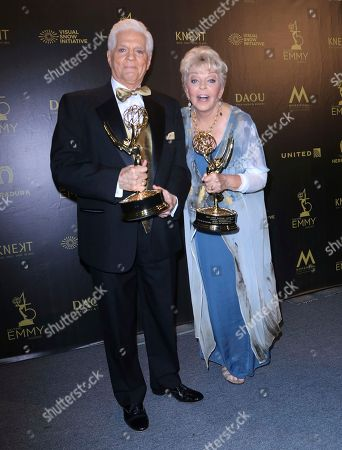 Bill Hayes, Susan Seaforth Hayes. Bill Hayes, left, and Susan Seaforth Hayes pose in the press room with the lifetime achievement award