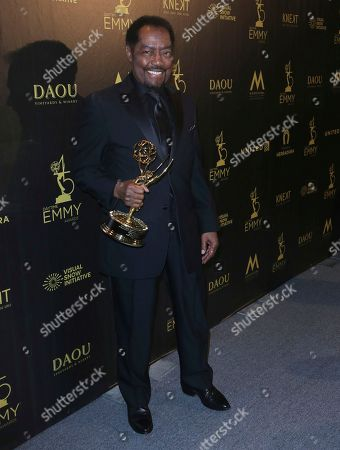 "James Reynolds poses in the press room with the award for outstanding lead actor in a drama series for ""Days of Our Lives"""