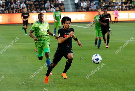 Los Angeles FC defender Omar Gaber (4) of Egypt, inactions against Seattle Sounders in the first half of an MLS soccer game at Banc of California Stadium in Los Angeles