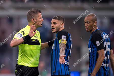 Daniele Orsato Referee and Mauro Emanuel Icardi Rivero Fonseca Nacimiento of Inter and Joao Miranda de Souza Filho of Inter