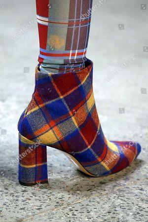 Model on the catwalk, shoe detail