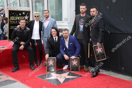 Carson Daly, Ellen DeGeneres, Lance Bass, JC Chasez, Joey Fatone, Justin Timberlake and Chris Kirkpatrick