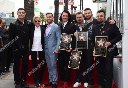 Carson Daly, Ellen DeGeneres, Lance Bass, JC Chasez, Justin Timberlake, Chris Kirkpatrick. Carson Daly, from left, Ellen DeGeneres, Lance Bass, JC Chasez, Joey Fatone, Justin Timberlake and Chris Kirkpatrick attend a ceremony honoring NSYNC with a star on the Hollywood Walk of Fame, in Los Angeles