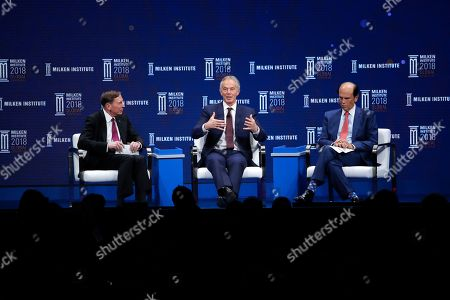 David Petraeus, Tony Blair, Michael Milken. Former British Prime Minister Tony Blair, center, speaks as he is joined by former CIA director retired Gen. David Petraeus, left, and moderator Michael Milken during a discussion at the Milken Institute Global Conference, in Beverly Hills, Calif
