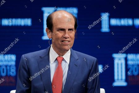 Moderator Michael Milken leads a discussion at the Milken Institute Global Conference, in Beverly Hills, Calif