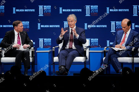 David Petraeus, Tony Blair, Michael Milken. Former British Prime Minister Tony Blair, center, speaks as he is flanked by former CIA director retired Gen. David Petraeus, left, and moderator Michael Milken during a discussion at the Milken Institute Global Conference, in Beverly Hills, Calif