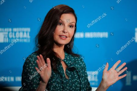 Actress Ashley Judd speaks during a discussion on feminism at the Milken Institute Global Conference, in Beverly Hills, Calif
