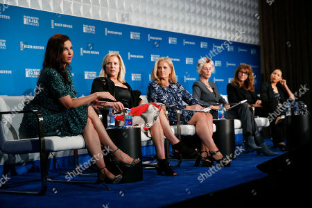 Stock Picture of Ashley Judd, Kerry Kennedy, Alex Witt, Catharine MacKinnon, Stacy Smith and Jurnee Smollett-Bell. Actress Ashley Judd, left, speaks during a discussion on feminism as she is joined by Kerry Kennedy, Alex Witt, Catharine MacKinnon, Stacy Smith and Jurnee Smollett-Bell at the Milken Institute Global Conference, in Beverly Hills, Calif