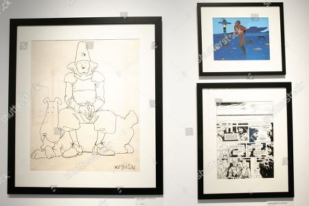 Stock Image of Jean Giraud artworks. Christie's, Cartoon Auction and Illustration of the Daniel Maghen Gallery.