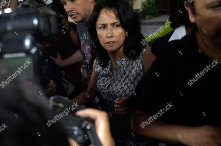Peru's former First Lady Nadine Heredia arrives home after she was released from prison in Lima, Peru, . A high court in Peru has ruled that former President Ollanta Humala and his wife must be freed from prison while prosecutors investigate their alleged involvement in multi-million dollar kickback schemes. They were jailed on July 14, 2017