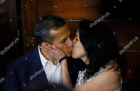 Ollanta Humala, Nadine Heredia. Peru's former President Ollanta Humala kisses his wife Nadine Heredia in the door of their home after they were released from prison in Lima, Peru, . A high court in Peru has ruled that Humala and his wife must be freed from prison while prosecutors investigate their alleged involvement in multi-million dollar kickback schemes. They were jailed on July 14, 2017