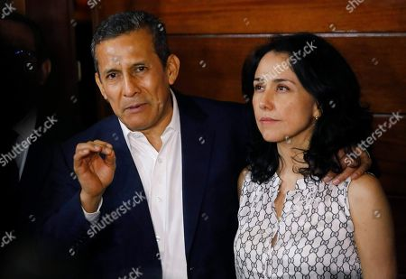 Ollanta Humala, Nadine Heredia. Peru's former President Ollanta Humala speaks next to his wife Nadine Heredia in the door of their home after they were released from prison in Lima, Peru, . A high court in Peru has ruled that Humala and his wife must be freed from prison while prosecutors investigate their alleged involvement in multi-million dollar kickback schemes. They were jailed on July 14, 2017