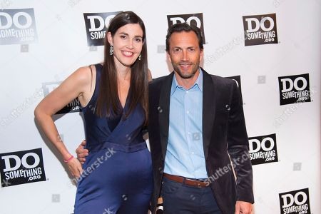 Stock Picture of Aria Finger, Andrew Shue. Aria Finger, left, and Andrew Shue attend the DoSomething.org 25th Anniversary Gala at Gotham Hall, in New York
