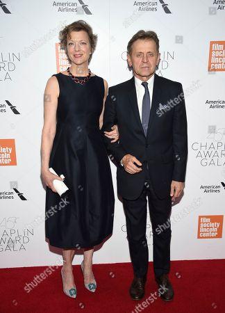 Lisa Rinehart, Mikhail Baryshnikov. Dancer/Mikhail Baryshnikov, right, and wife Lisa Rinehart attends the Film Society of Lincoln Center's 45th Chaplin Award Gala at Alice Tully Hall, in New York