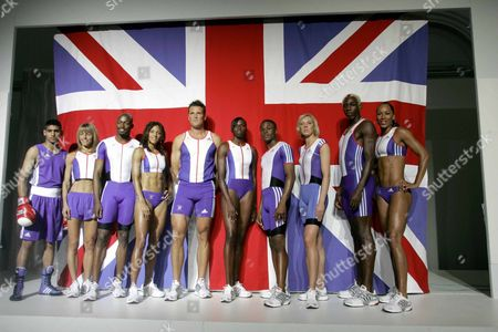 Members Of Olympic Team Gb Model New Adidas Kit L-r: Amir Khan Tracey Morris Marlon Devonish Jo Fenn James Cracknell Donna Fraser Daniel Caines Lee Mcconnell Phillips Idowu Jade Johnson