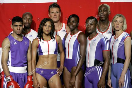 L-r: Amir Khan, Marlon Devonish, Jo Fenn, James Cracknell, Donna Fraser, Daniel Caines, Phillips Idowu, and Lee McConnell