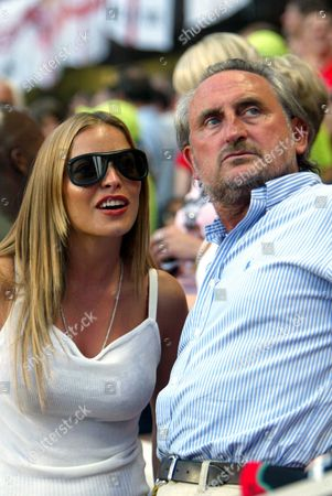 European Football Championships 2004 Portugal. Frank Lampard Partner Elen Rivers With Frank Lampard Snr At The England .v. France Match In Lisbon Last Night.