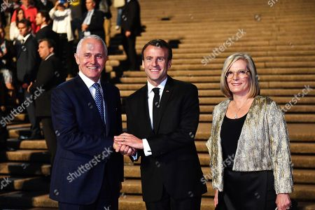 President of France Emmanuel Macron (C) meets with Australia's Prime Minister Malcolm Turnbull (L) and his wife Lucy Turnbull at the Sydney Opera House in Sydney, 01 May 2018. President Macron is in Sydney for bilateral talks alongside Australian Prime Minister Malcolm Turnbull with trade and security expected to top the two day agenda setdown between 01 to 03 May.