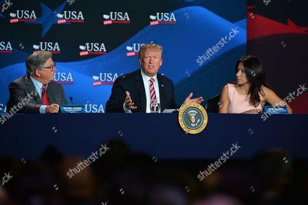 Maximo Alvarez, U.S. President Donald J. Trump and Irena Vilarino