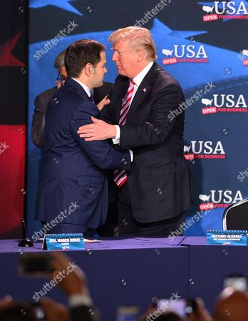 Marco Rubio FL senator (R), Maximo Alvarez and U.S. President Donald J. Trump