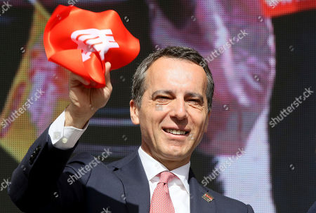 Christian Kern head of the Austrian Social Democrats attends the traditional May Day celebrations of the Austrian Social Democrats, SPOE, and trade unions in Vienna, Austria