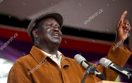Opposition leader Raila Odinga speaking during this year's Labour Day celebrations at Uhuru Park in Kenya's capital Nairobi.