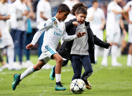 Cristiano Ronaldo Jr. the son of Cristiano Ronaldo of Real Madrid is seen playing football after the match.