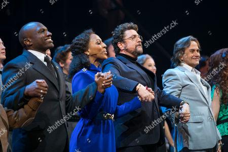 Philip Browne (Molokov), Alexandra Burke (Svetlana Sergievsky), Michael Ball (Anatoly Sergievsky) and Tim Howar (Frederick Trumper) during the curtain call