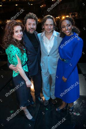 Cassidy Janson (Florence Vassy), Michael Ball (Anatoly Sergievsky), Tim Howar (Frederick Trumper) and Alexandra Burke (Svetlana Sergievsky) backstage