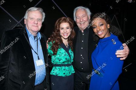 Michael Grade (Producer), Cassidy Janson (Florence Vassy), Michael Linnit (Producer) and Alexandra Burke (Svetlana Sergievsky) backstage