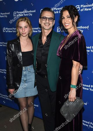 Stella Rose Gahan, Dave Gahan, Jennifer Sklias-Gahan. Stella Rose Gahan, from left, Dave Gahan and Jennifer Sklias-Gahan attend the Planned Parenthood Benefit Gala at Spring Studios, in New York