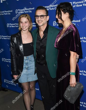 Stella Gahan, Dave Gahan, Jennifer Sklias-Gahan. Singer Dave Gahan, center, poses with his daughter Stella, left, and wife Jennifer Sklias-Gahan at the Planned Parenthood Benefit Gala at Spring Studios, in New York