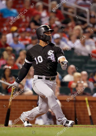 Chicago White Sox's Yoan Moncada flies out to end the top of the ninth inning of a baseball game against the St. Louis Cardinals, in St. Louis