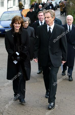 The Funeral Of Lord Roy Jenkins At St. Augustines Church East Hendred Oxon. Picture Shows - Prime Minister Tony Blair With Cherie Leave St.augustines Church After The Funeral.