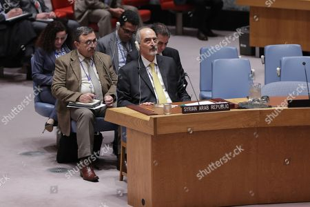 Bashar Jaafari Permanent Representative of Syria to the United Nations During a Security Council meeting on the situation in Syria's eastern Ghouta today at the UN Headquarters in New York
