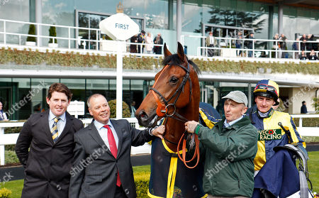 GETCHAGETCHAGETCHA (Adam Kirby) with Jason Maguire and Clive Cox after The Sodexo Conditions Stakes Ascot