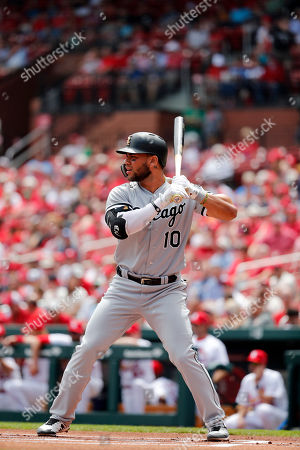 Chicago White Sox's Yoan Moncada bats during the first inning of a baseball game against the St. Louis Cardinals, in St. Louis