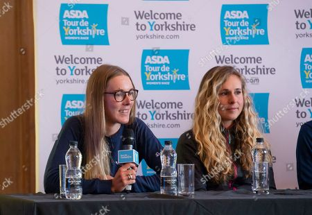 Stock Picture of Canhyon SRAM's Hannah Barnes & Trek Drops' Annabel Simpson at the press conference.