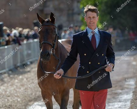 William Fox-Pitt (GBR) with  Fernhill Pimms  at the First Horse Inspection at the North Front Badminton House. Oliver Townend comes to Badminton looking to win the Rolex Grand Slam The 2018 Mitsubishi Motors Badminton Horse Trials,  Badminton, Gloucestershire, UK, 2nd May 2018.