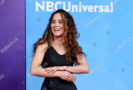 "Alice Braga, a cast member in the USA series ""Queen of the South,"" poses during the 2018 NBCUniversal Summer Press Day, in Universal City, Calif"