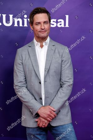 "Josh Holloway, a cast member in the USA series ""Colony,"" poses during the 2018 NBCUniversal Summer Press Day, in Universal City, Calif"