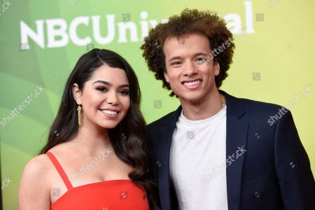 "Auli'i Cravalho, Damon J. Gillespie. Auli'i Cravalho, left, and Damon J. Gillespie, cast members in the NBC television series ""Rise,"" poses during the 2018 NBCUniversal Summer Press Day, in Universal City, Calif"