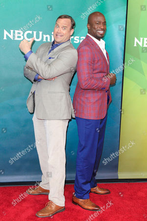 US comedian, actor, Matt Iseman,(L) and  US former professional American football player, Akbar Gbajabiamila arriving for the NBCUniversal Summer Press Day 2018 at Stage 23 at Universal Studios in Universal City, California, USA, 02 May 2018. This event  introduces the US TV networks' new and ongoing shows.